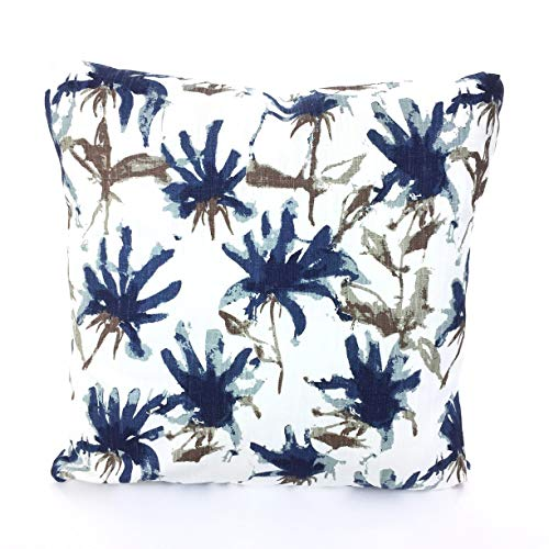 - Navy Brown Floral Pillow Covers Decorative Pillows Cushion Covers Regal Blue Brown Tan Navy Spa Blue White Kendal Couch Bed Various SIZES