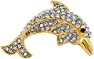 Jeweled Gold Dolphin Pin