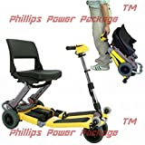 Free Rider USA - Luggie Standard - Compact Lightweight Foldable Scooter - 4-Wheel - Yellow - PHILLIPS POWER PACKAGE TM - TO $500 VALUE