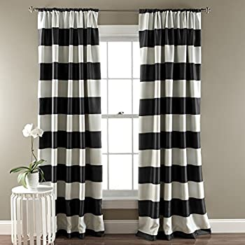 Captivating 2 Piece 84 Inch Girls Bold Black White Rugby Stripes Curtains Panel Pair  Set, Black