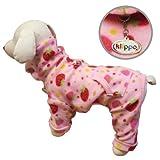 Yummy Strawberries Fleece Turtleneck Dog Pajamas / Bodysuit Size: Small, My Pet Supplies