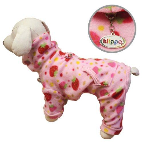 Yummy Strawberries Fleece Turtleneck Dog Pajamas / Bodysuit Size: Medium, My Pet Supplies