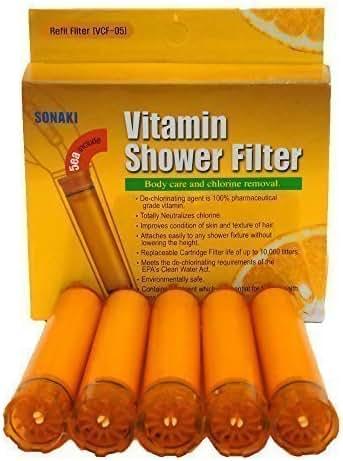Sonaki Vitamin C Shower Filter Cartridge - (1 Pack of 5) Vitamin C Filter Refills - Remove 99.9% of Chlorine and Chloramines