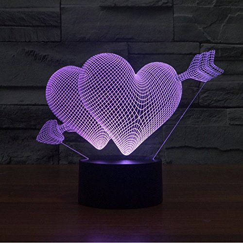 Hearts 3D Led Night Light Acrylic Table Lamp Touch Swithch 7-Color Love Gift
