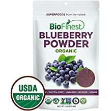Biofinest Wild Blueberry Juice Powder - 100% Pure Freeze-Dried Superfood - USDA Certified Organic Vegan Raw Non-GMO - Boost Digestion Weight Loss - For Smoothie Beverage Blend (4 oz Resealable Bag)