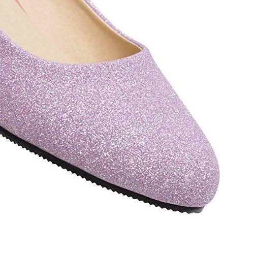 Violet Bas Rond AalarDom Légeres à Femme à Tissu Talon Chaussures Tire Paillette CWwqPnXHw8
