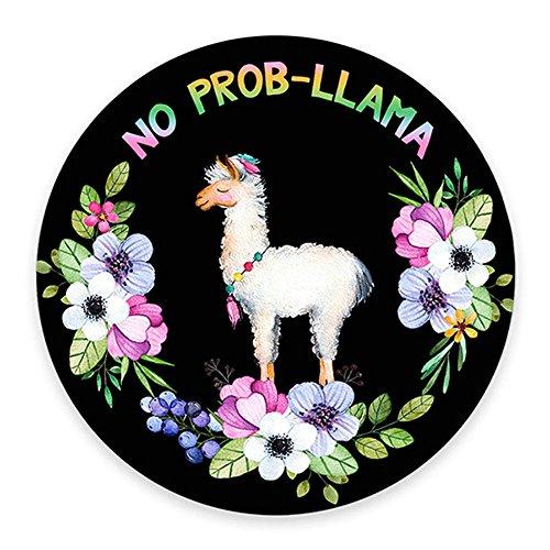 No Prob-Lama Mousepad, Llama Mouse Pad, Funny Mousepad, Lama Animal Lovers Llama In Flowers
