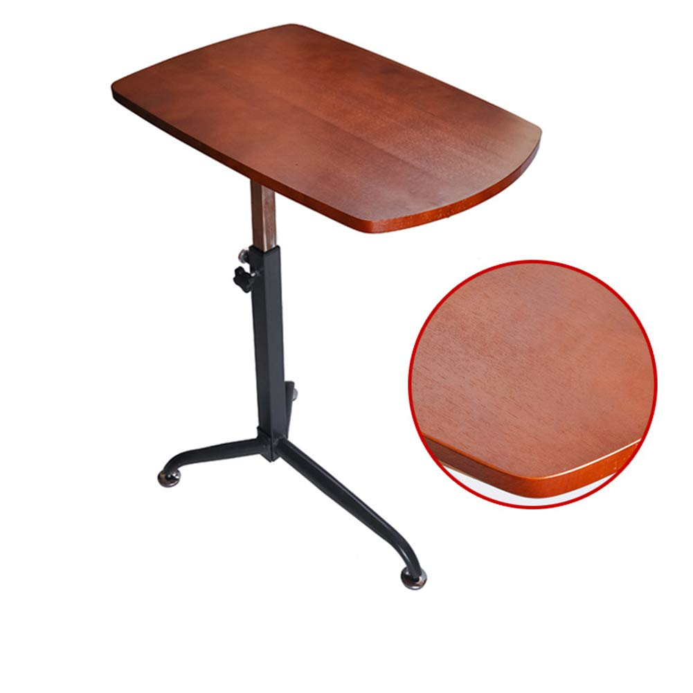 CLEAVE WAVES Height Adjustable Sofa Side Table Laptop Cart Computer Desk Bedside Table Oversized Rotating Solid Wood Side Table,Walnut