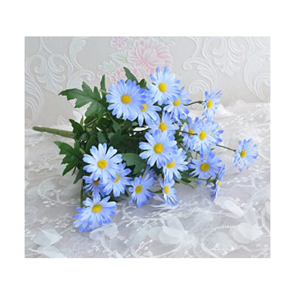 Top Estore Fake Daisy Flowers Atificial Silk Flowers Home/Party Decoration (Blue)