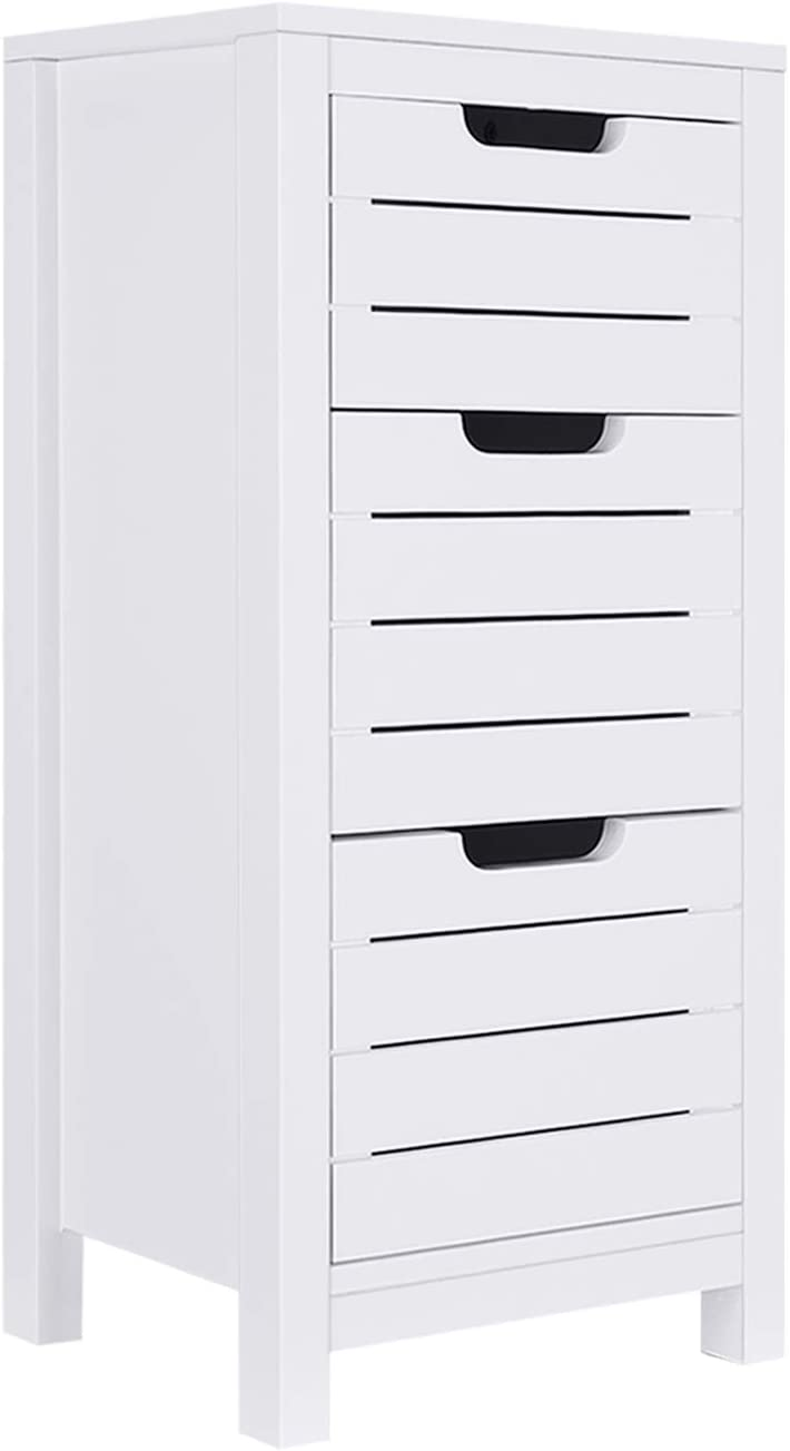ChooChoo bathroom floor cabinet, free standing storage cabinet, wooden bathroom storage organizer with 3 drawers, White