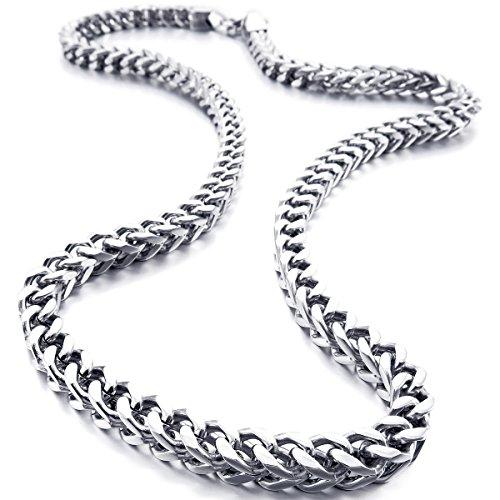 Munkimix 6MM Breit Rostfreier Stahl Wasserdicht Kette Halskette zum Männer Frauen Jungs Mädchen Kubanische Gliederkette Halskette Dick Metall Fuchsschwanz (3 Farben – Silber Schwarz Gold, 550MM Lange)