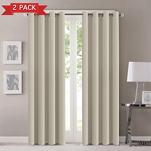 Blackout Curtains for Bedroom/Living Room Made of Three Pass Textured Microfiber Noise Reducing Thermal Insulated Solid Grommet Blackout Window Drapes (Two Panels, 52 x 84 Inch, Ivory)
