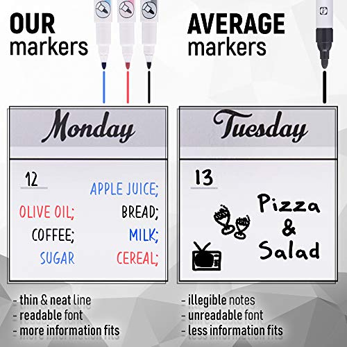 Magnetic Dry Erase Calendar for Refrigerator 2019 - Monthly Planner White Board for Family - 3 Fine Tip Markers & Large Eraser with Magnets - Organizer for Kitchen Fridge - Big Cute Magnet Whiteboard Photo #7