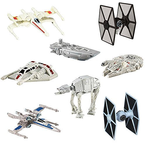 Hot Wheels Star Wars (8 Pack) Spaceship Models Toys Set Figures and Stands Mattel by Hot Wheels