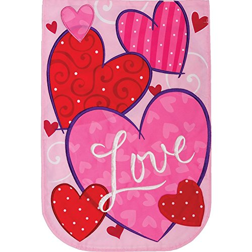 Love Hearts - Garden Size, Emboidered Applique Style, Double Sided Decorative Flag - Approx. 12 Inch X 17.98 Inch