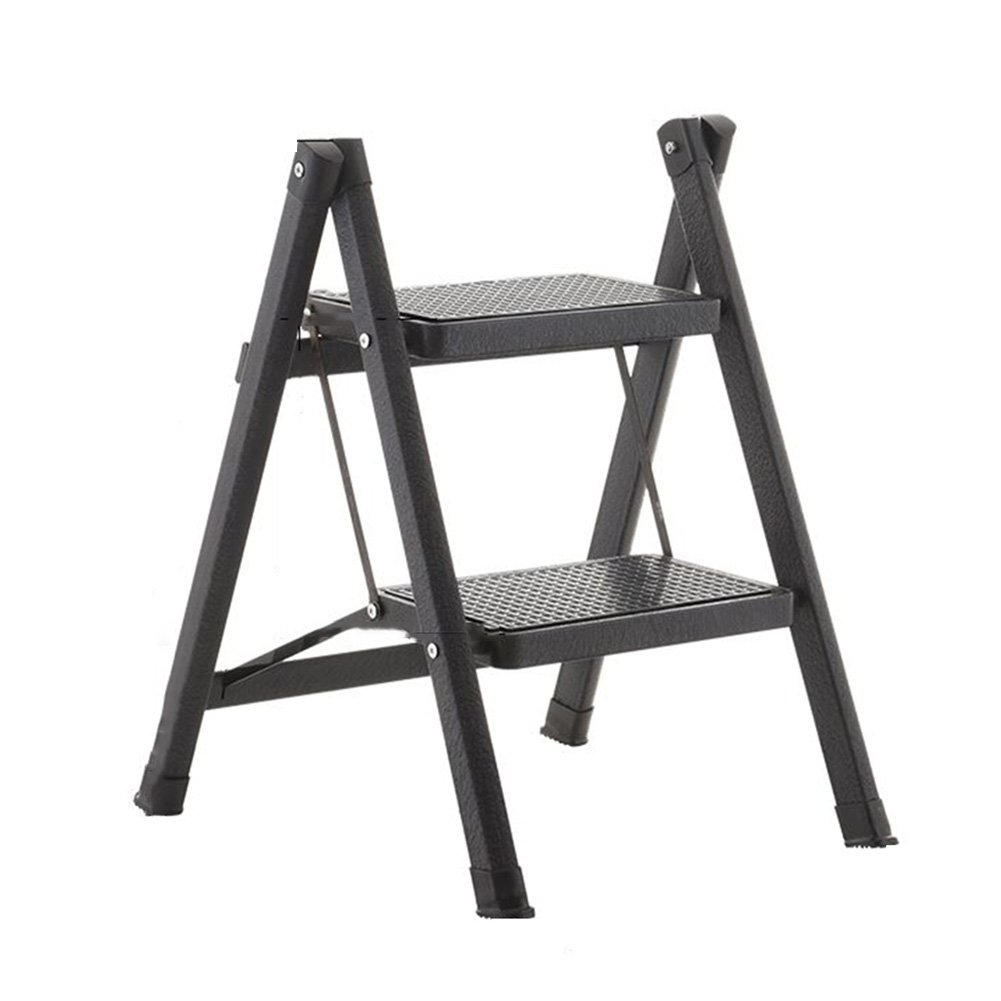 PENGFEI Stepstools Folding Ladder Stool Stairs Multifunction Ladders Library Supermarket Ascend Pedal Metal, 2 Steps 4 Colors Building Supplies (Color : Black)