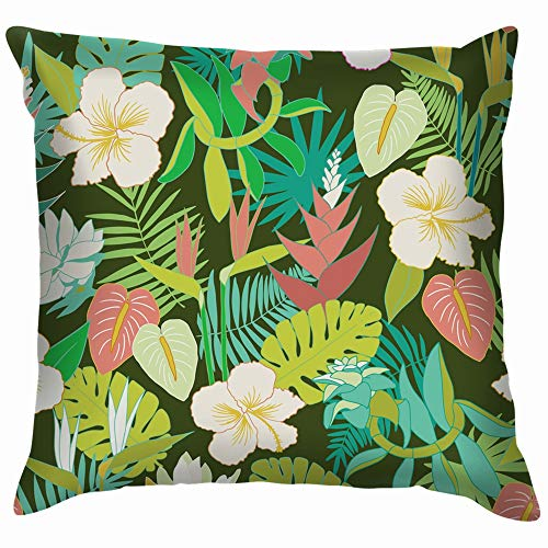Tropical Jungle Floral Beautiful Nature Throw Pillows Covers Accent Home Sofa Cushion Cover Pillowcase Gift Decorative 24X24 Inch (South Garden Africa Patio Ideas)