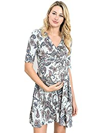 LaClef Flower Print V-Neck 3/4 Sleeve Baby Shower Front...