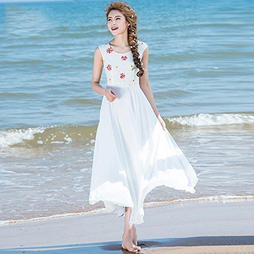 Spiaggia Lunga O dimensioni Abito Da Maniche L Stagione In WYYY Signora Estiva Gonna Bianco Collare Senza Piega Printing Abito Vestito Chiffon qHUxIAwS