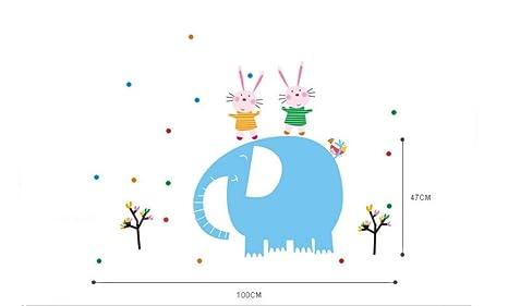 Elefante conejo extraíble adhesivo adhesivos dibujos animados habitación de los niños guardería para salón o dormitorio