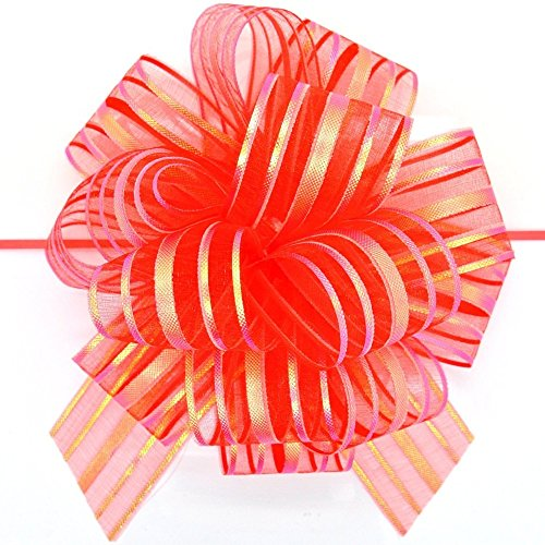 (FQTANJU Pull Bow, Large, Organza, 6 Inches, Red, 5 Pieces)