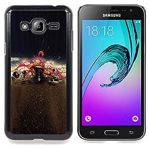 """Qstar Arte & diseño plástico duro Fundas Cover Cubre Hard Case Cover para Samsung Galaxy J3(2016) J320F J320P J320M J320Y (Boca Labios rojos del beso Amor de la música de concierto"""")"""