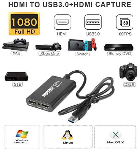 کارت ضبط بازی Bewinner ، کارت Hd Video Capture ، کارت ضبط بازی با سرعت بالا USB 3.0 1080P برای Ps3 / Ps4 ، برای Xbox ، برای Nintendo Switch