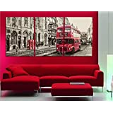 InDesign Wall Art *Sepia Red Bus London* Modern Home Decor - Top Quality Canvas Print Set Of 3 - Stretched & Ready to Hang - Size 48Wx24Hx1D inches / 120Wx60Hx2.5D cm - Customized Sizes & Other Color Available On Request - Money Back Guarantee