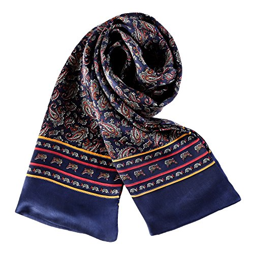 Charmeuse Satin Silk Scarf for Men (Navy with Paisley Pattern)