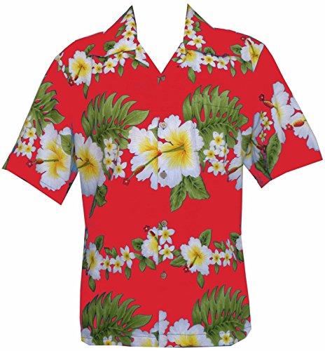Hibiscus Hawaiian Shirt (Hawaiian Shirt 10A Mens Cross Hibiscus Flower Print Beach Party Aloha Red L)
