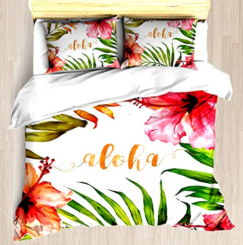 - Hawaiian Tropical Floral Aloha Watercolor - Duvet Cover Set Soft Comforter Cover Pillowcase Bed Set Unique Printed Floral Pattern Design Duvet Covers Blanket Cover Queen/Full Size