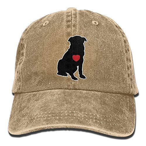 Daqinghjxg Mens/Womens Heart Pug Dog Denim Fabric Baseball Cap Adjustable Street Rapper -
