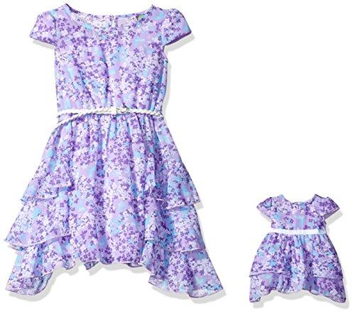 Dollie & Me Little Girls' Ruffled Chiffon Floral Dress an...