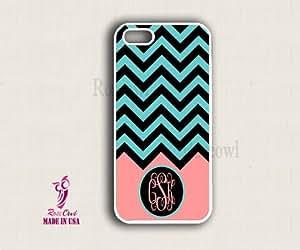 Monogram iPhone 5c Case - Green Black Chevron Circle iPhone Case, iPhone 5c C...