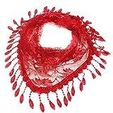 Jonecal Lace Openwork Fringed Triangle Scarf, Fashion Lace Tassel Scarf Shawl (Red)