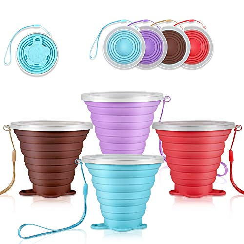 DGHH Collapsible Cups Travel Mugs Folding Camping Cups with Lids Portable Drinking Cup Set- (Silicone) BPA Free (4PCS Cup Set)