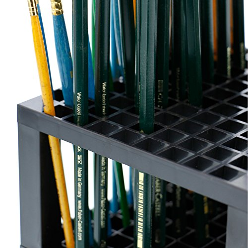 U.S. Art Supply 96 Hole Plastic Pencil & Brush Holder - Desk Stand Organizer Holder for Pens, Paint Brushes, Colored Pencils, Markers