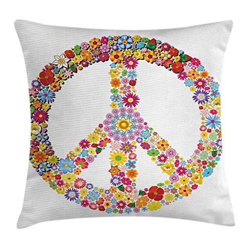 Ambesonne Modern Decor Throw Pillow Cushion Cover, Floral Peace Sign Summer Spring Blooms Love Happiness Themed Illustration Print, Decorative Square Accent Pillow Case, 18 X 18 Inches, Multi