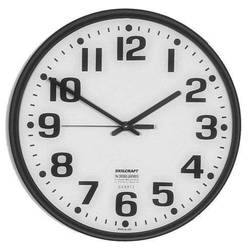 SKILCRAFT 6645-01-389-7944 Plastic Slimline Wall Clock with White Face, 12-3/4-Inch Diameter, Black
