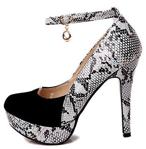 Idifu Vrouwen Sexy Snake Print Gesplitst Platform Hoge Naaldhakken Pumps Schoenen Met Enkelbandje Zwart