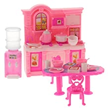 Baoblaze 1/6 Scale Miniature Kitchen Cabinet + Table + Chair Dining Room Furniture For Barbie Dolls House Action Figures Accessory