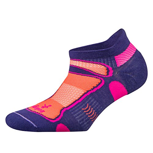 Balega Ultralight No Show Athletic Running Socks for Men and Women (1 Pair), Charged Purple/Neon Orange, Small -