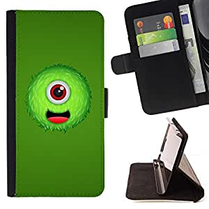 DEVIL CASE - FOR LG OPTIMUS L90 - Green One Eyed Monster - Style PU Leather Case Wallet Flip Stand Flap Closure Cover