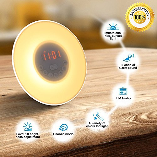 Alarm Clock Wake Up Light Sunrise Sunset Simulation with FM Radio Natural Sounds and Snooze Function 7 Colors 10 Brightness Touch Control and USB Charge for Kids, Adults, Bedroom