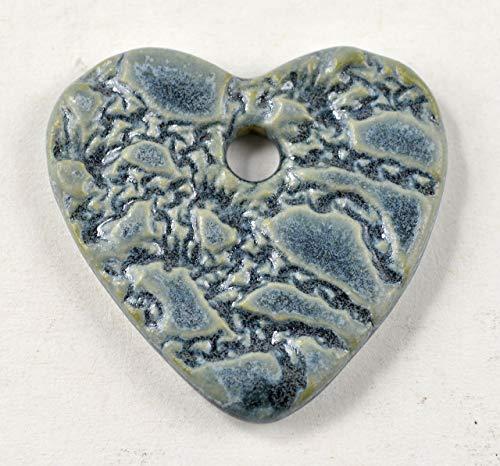 Pottery Pendant Bead - Ceramic Pendant Pottery Focal Bead Blue Heart Necklace