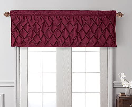 VCNY Home Carmen Tailored Valance, Window Treatment, 60 X 20 , Burgundy