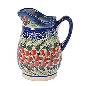 Traditional Polish Pottery, Handcrafted Ceramic Cream or Milk Jug 300ml, Boleslawiec Style Pattern, J.202.Cranberry