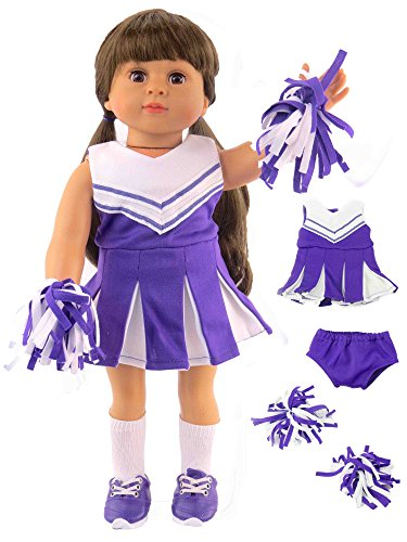 Purple and White Doll Cheerleader Cheerleading Outfit Uniform | Fits 18