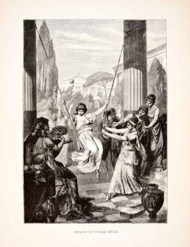 Costumes Girl Greece (1886 Wood Engraving (Photoxylograph) Greece Girl Swinging Sport Greek Costume - Original Wood Engraving)