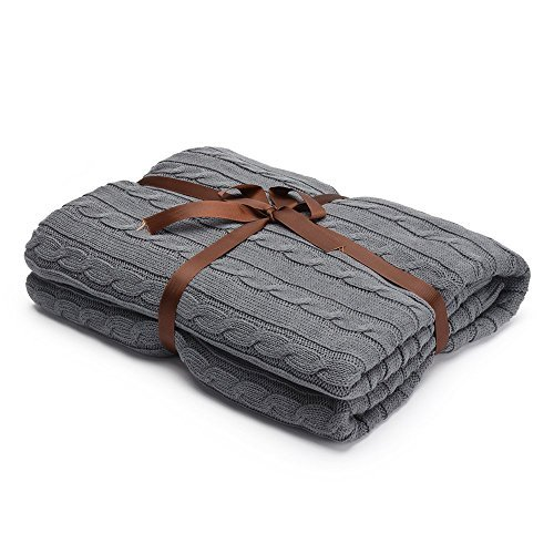 Prosshop Crocheted Blanket Handmade Super Soft Warm Twist Cotton Cable Knitting Throw Sleeping Cover Blanket Rug for Kids or Adults Bedroom Sofa/Bed/Couch/Car/ Quilt Living Room/ Office (Deep Grey)
